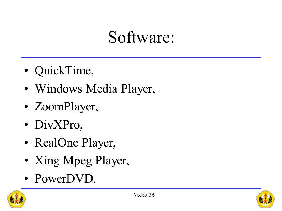 Software: QuickTime, Windows Media Player, ZoomPlayer, DivXPro,