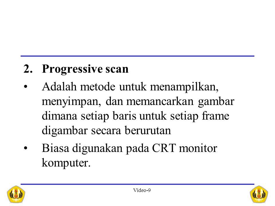 Progressive scan Adalah metode untuk menampilkan, menyimpan, dan memancarkan gambar dimana setiap baris untuk setiap frame digambar secara berurutan.