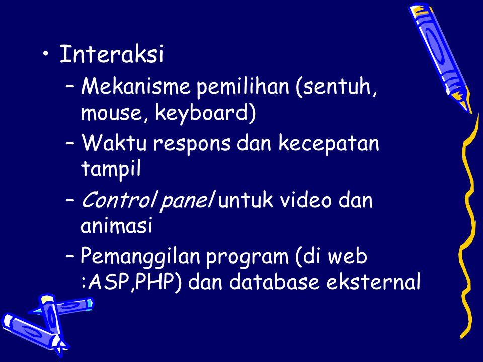 Interaksi Mekanisme pemilihan (sentuh, mouse, keyboard)