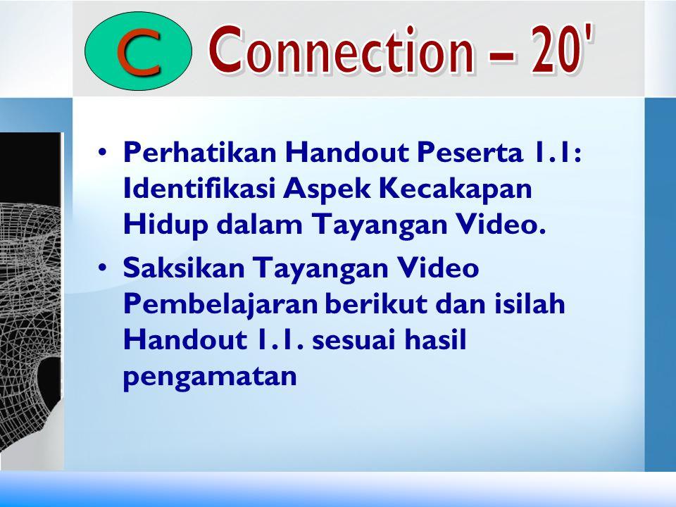 C Connection – 20 Perhatikan Handout Peserta 1.1: Identifikasi Aspek Kecakapan Hidup dalam Tayangan Video.