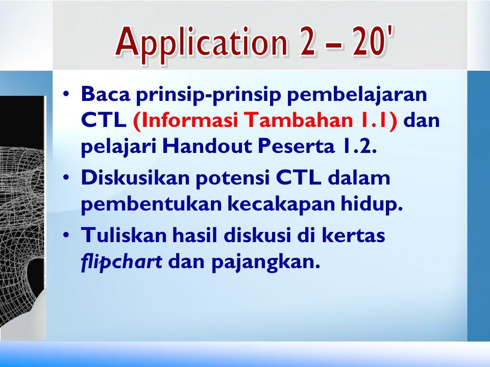Application 2 – 20 Baca prinsip-prinsip pembelajaran CTL (Informasi Tambahan 1.1) dan pelajari Handout Peserta 1.2.