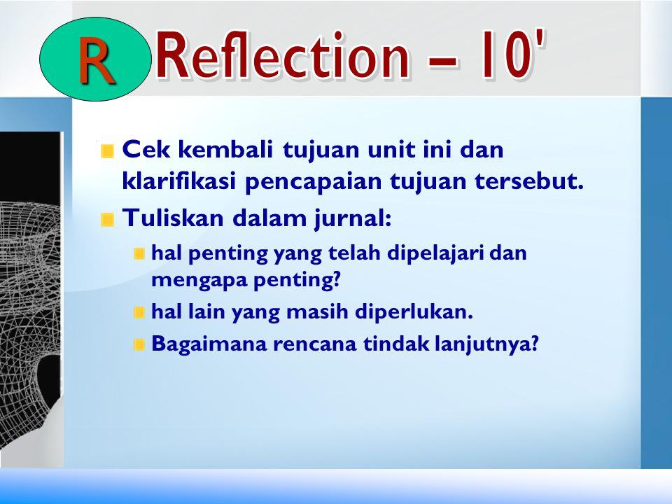 R Reflection – 10 Cek kembali tujuan unit ini dan klarifikasi pencapaian tujuan tersebut. Tuliskan dalam jurnal: