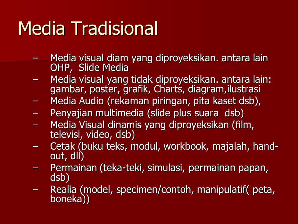 Media Tradisional Media visual diam yang diproyeksikan. antara lain OHP, Slide Media.