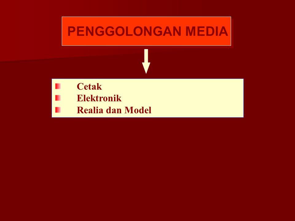 PENGGOLONGAN MEDIA Cetak Elektronik Realia dan Model