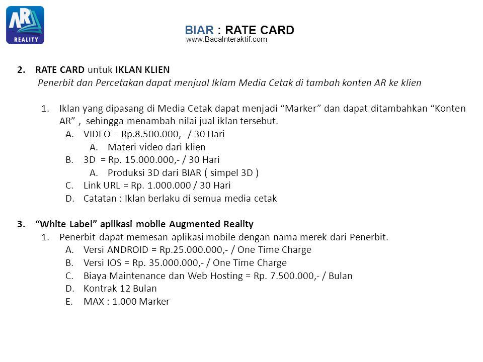 BIAR : RATE CARD RATE CARD untuk IKLAN KLIEN