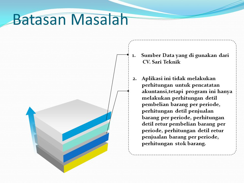 Batasan Masalah Sumber Data yang di gunakan dari CV. Sari Teknik