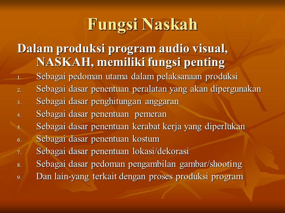 Fungsi Naskah Dalam produksi program audio visual, NASKAH, memiliki fungsi penting. Sebagai pedoman utama dalam pelaksanaan produksi.