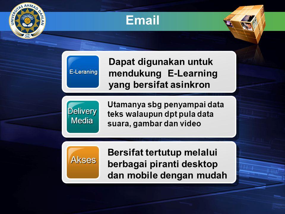 Email E-Leraning. Dapat digunakan untuk mendukung E-Learning yang bersifat asinkron. Delivery. Media.