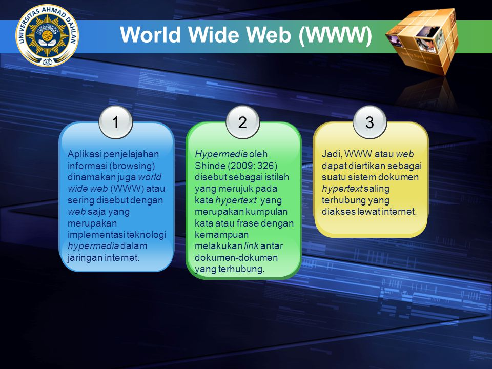 World Wide Web (WWW) 1. 2. 3.