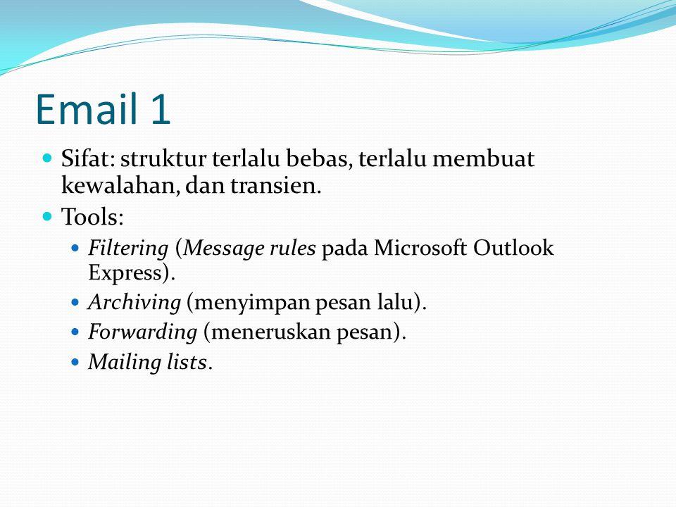 Email 1 Sifat: struktur terlalu bebas, terlalu membuat kewalahan, dan transien. Tools: Filtering (Message rules pada Microsoft Outlook Express).