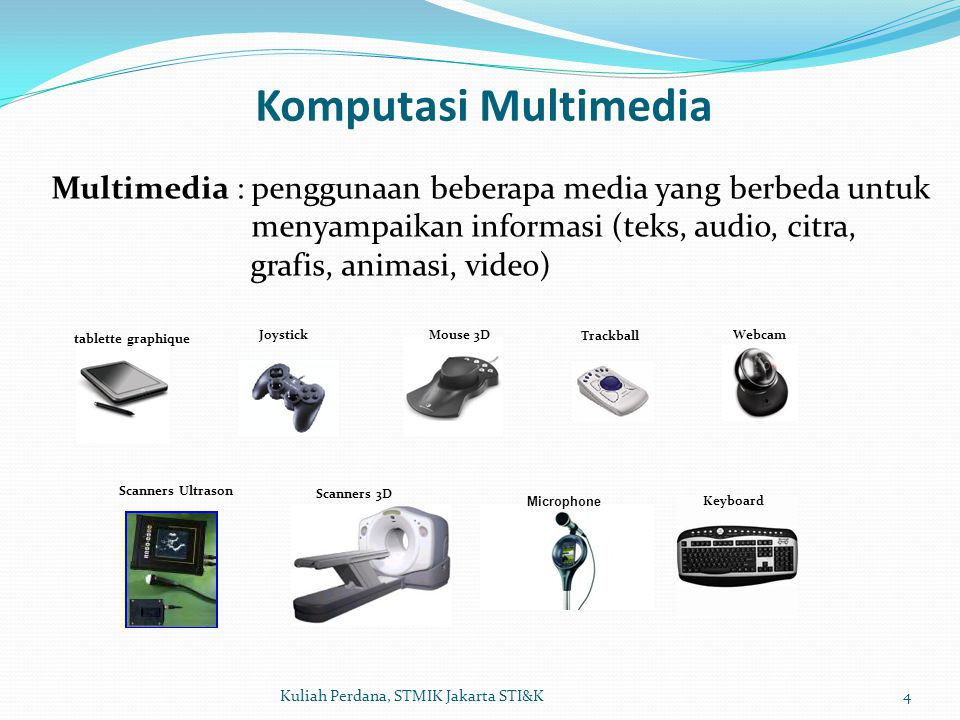 Komputasi Multimedia Multimedia : penggunaan beberapa media yang berbeda untuk. menyampaikan informasi (teks, audio, citra,