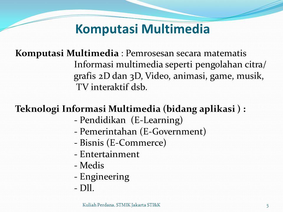 Komputasi Multimedia Komputasi Multimedia : Pemrosesan secara matematis. Informasi multimedia seperti pengolahan citra/