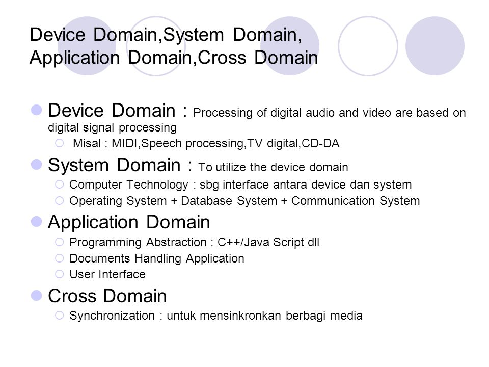 Device Domain,System Domain, Application Domain,Cross Domain