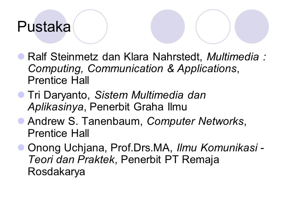 Pustaka Ralf Steinmetz dan Klara Nahrstedt, Multimedia : Computing, Communication & Applications, Prentice Hall.