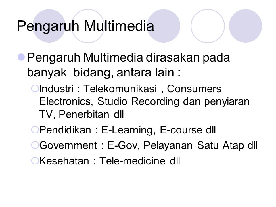 Pengaruh Multimedia Pengaruh Multimedia dirasakan pada banyak bidang, antara lain :