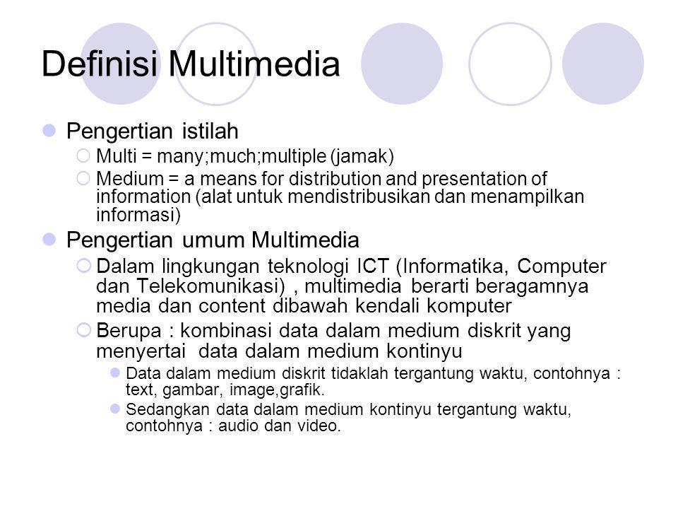 Definisi Multimedia Pengertian istilah Pengertian umum Multimedia