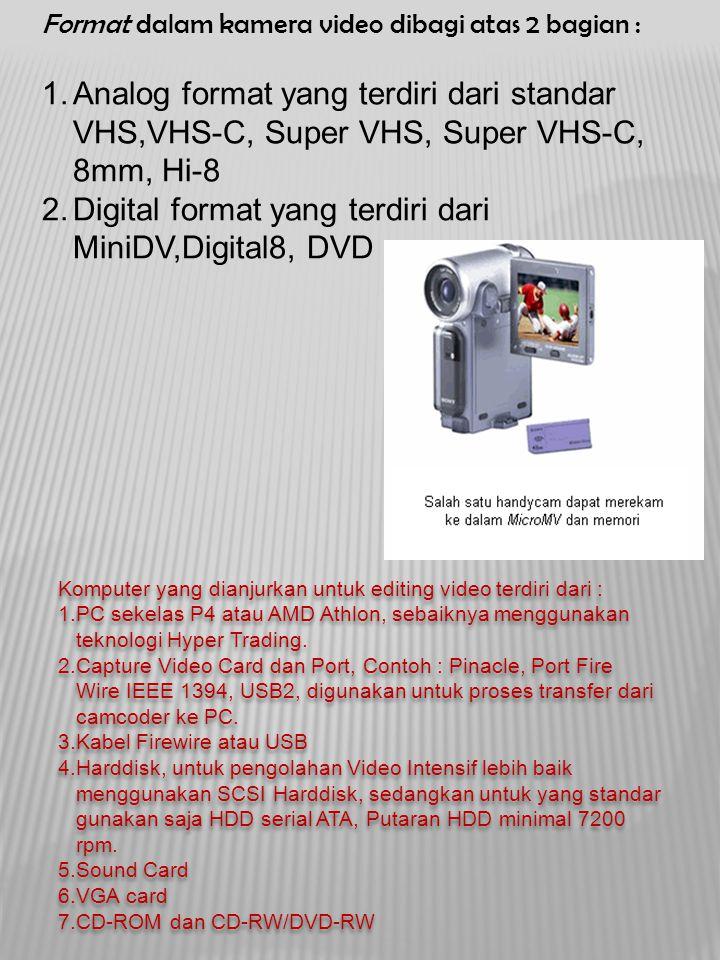 Digital format yang terdiri dari MiniDV,Digital8, DVD
