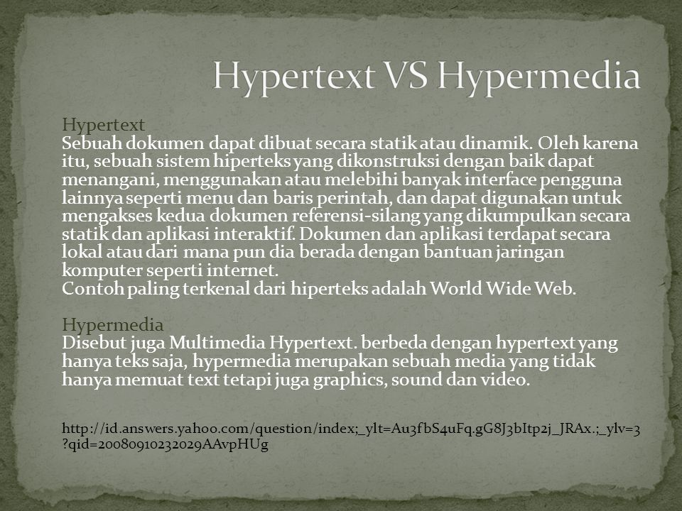 Hypertext VS Hypermedia