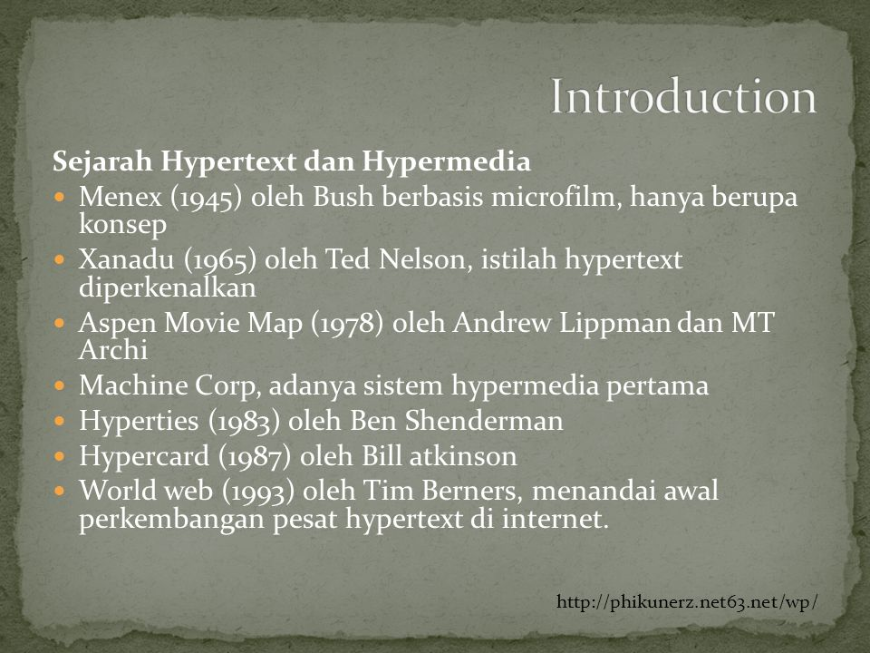 Introduction Sejarah Hypertext dan Hypermedia