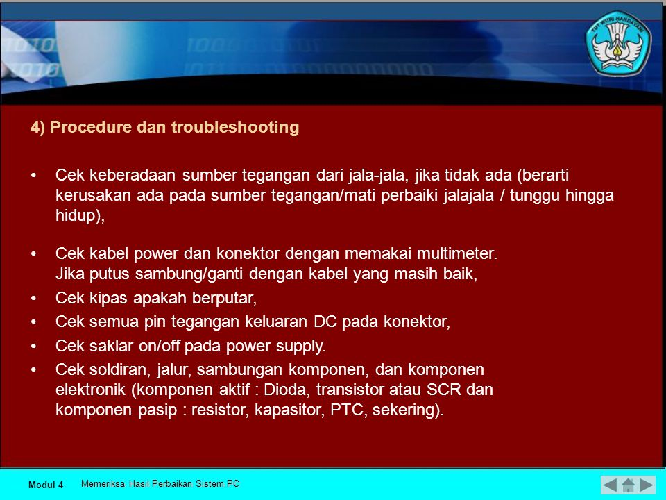 4) Procedure dan troubleshooting