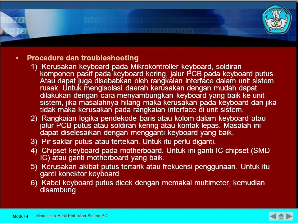 Procedure dan troubleshooting