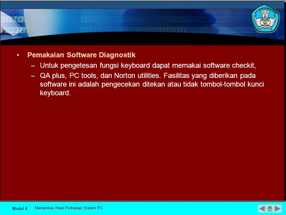 Pemakaian Software Diagnostik