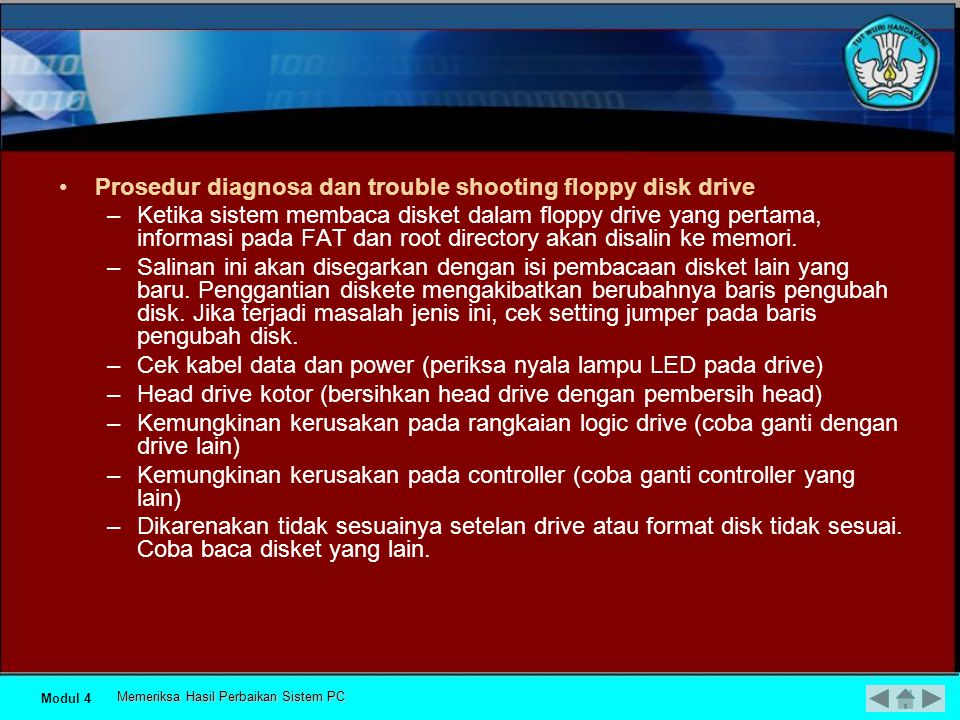 Prosedur diagnosa dan trouble shooting floppy disk drive