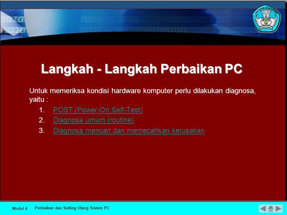 Langkah - Langkah Perbaikan PC