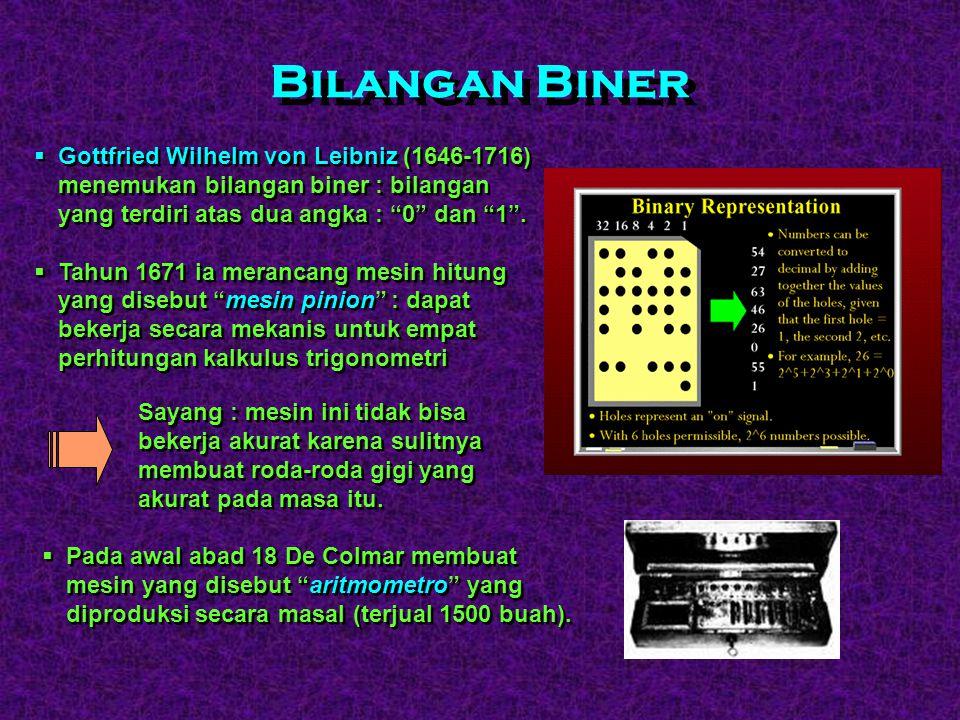 Bilangan Biner Gottfried Wilhelm von Leibniz (1646-1716) menemukan bilangan biner : bilangan yang terdiri atas dua angka : 0 dan 1 .