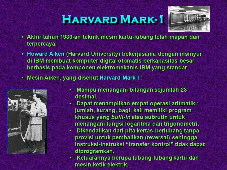 Harvard Mark-1 Akhir tahun 1930-an teknik mesin kartu-lubang telah mapan dan terpercaya.