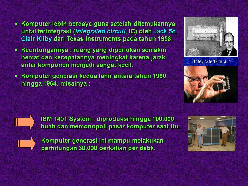 Komputer lebih berdaya guna setelah ditemukannya untai terintegrasi (integrated circuit, IC) oleh Jack St. Clair Kilby dari Texas Instruments pada tahun 1958.
