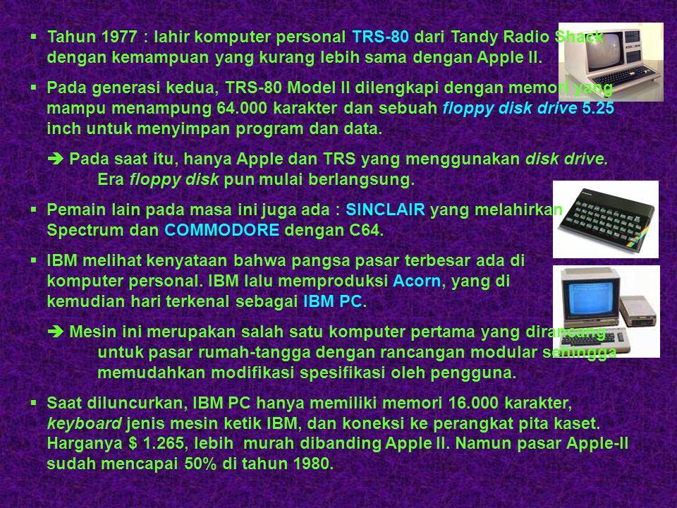 Tahun 1977 : lahir komputer personal TRS-80 dari Tandy Radio Shack dengan kemampuan yang kurang lebih sama dengan Apple II.