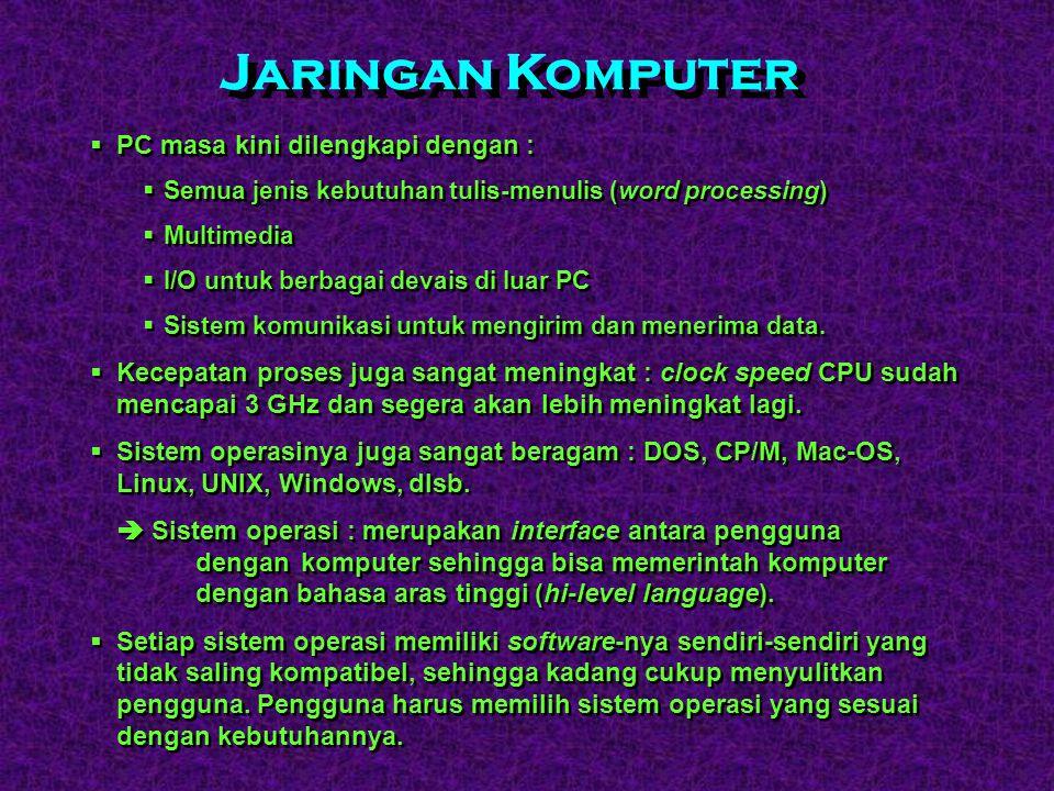 Jaringan Komputer PC masa kini dilengkapi dengan :