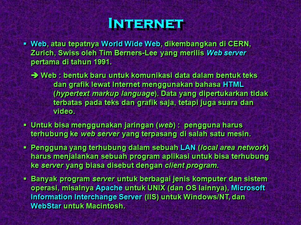 Internet Web, atau tepatnya World Wide Web, dikembangkan di CERN, Zurich, Swiss oleh Tim Berners-Lee yang merilis Web server pertama di tahun 1991.