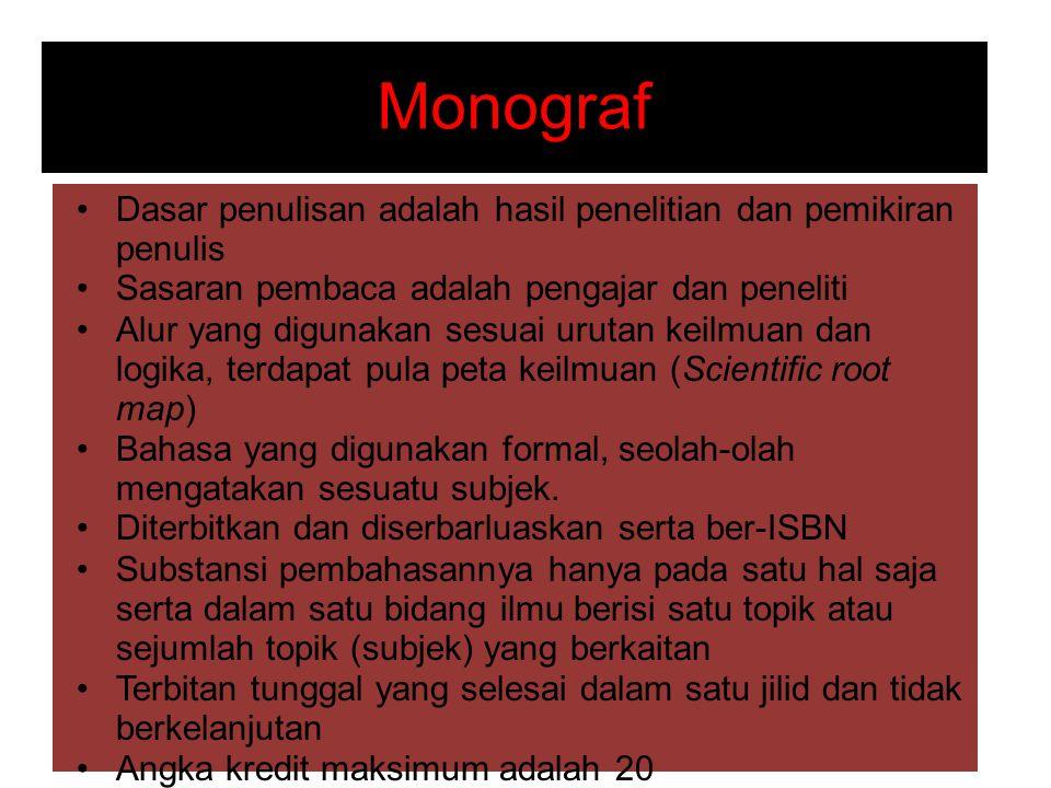 Monograf Dasar penulisan adalah hasil penelitian dan pemikiran penulis