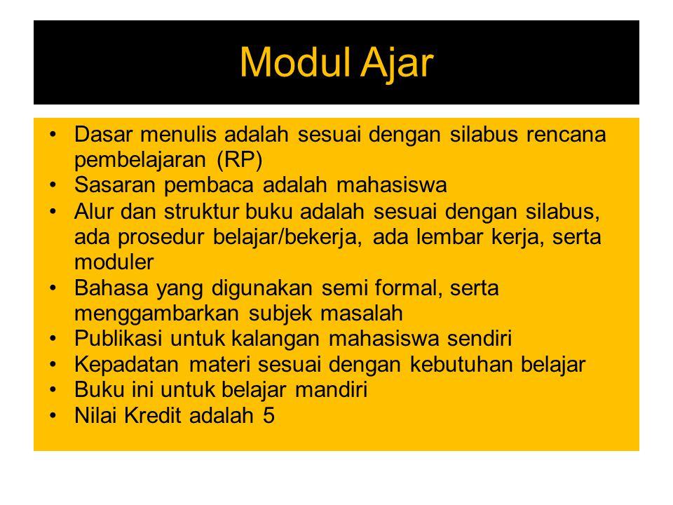 Modul Ajar Dasar menulis adalah sesuai dengan silabus rencana pembelajaran (RP) Sasaran pembaca adalah mahasiswa.