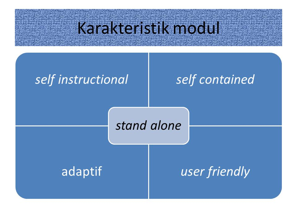 Karakteristik modul stand alone self instructional self contained