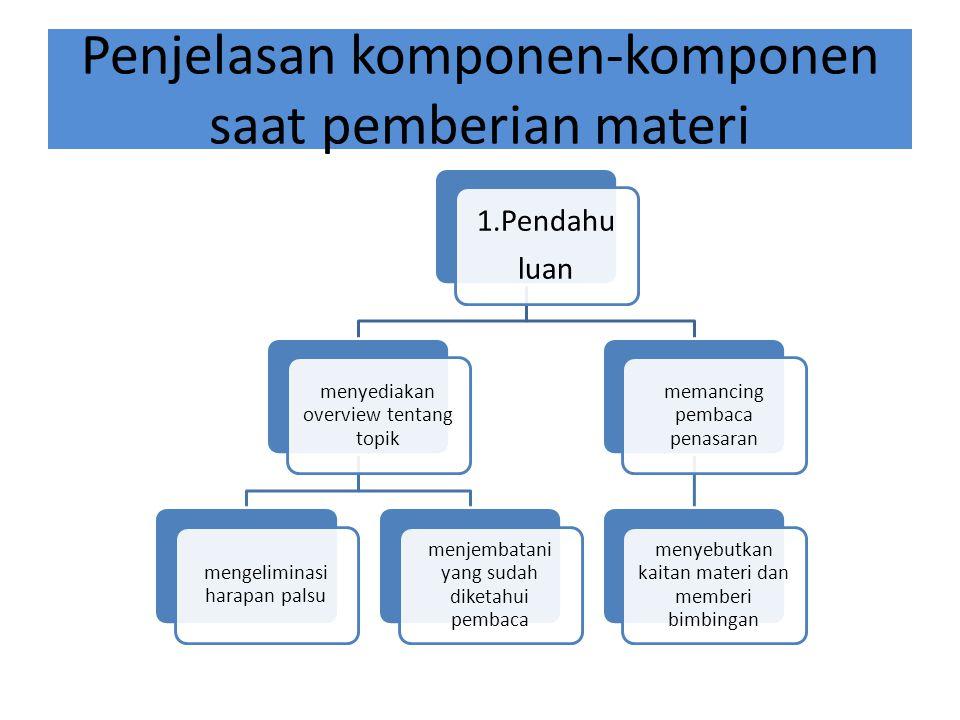 Penjelasan komponen-komponen saat pemberian materi