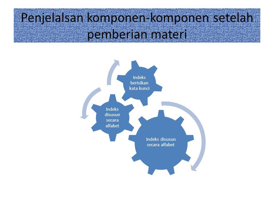 Penjelalsan komponen-komponen setelah pemberian materi