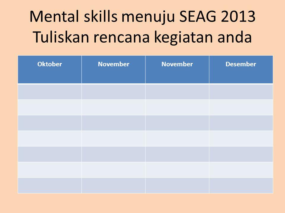 Mental skills menuju SEAG 2013 Tuliskan rencana kegiatan anda
