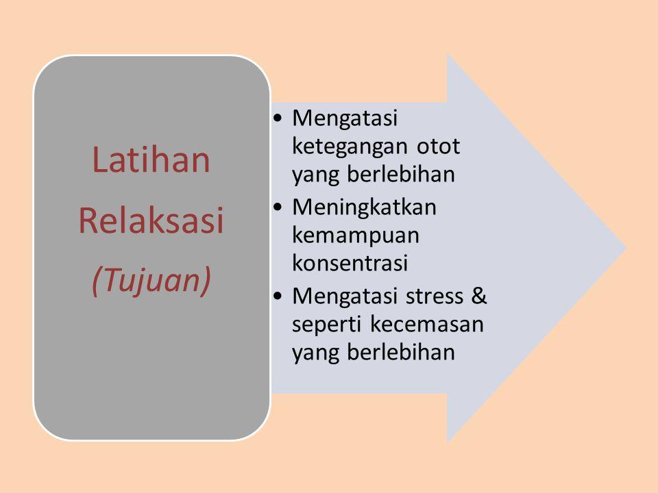 Latihan Relaksasi (Tujuan) Mengatasi ketegangan otot yang berlebihan