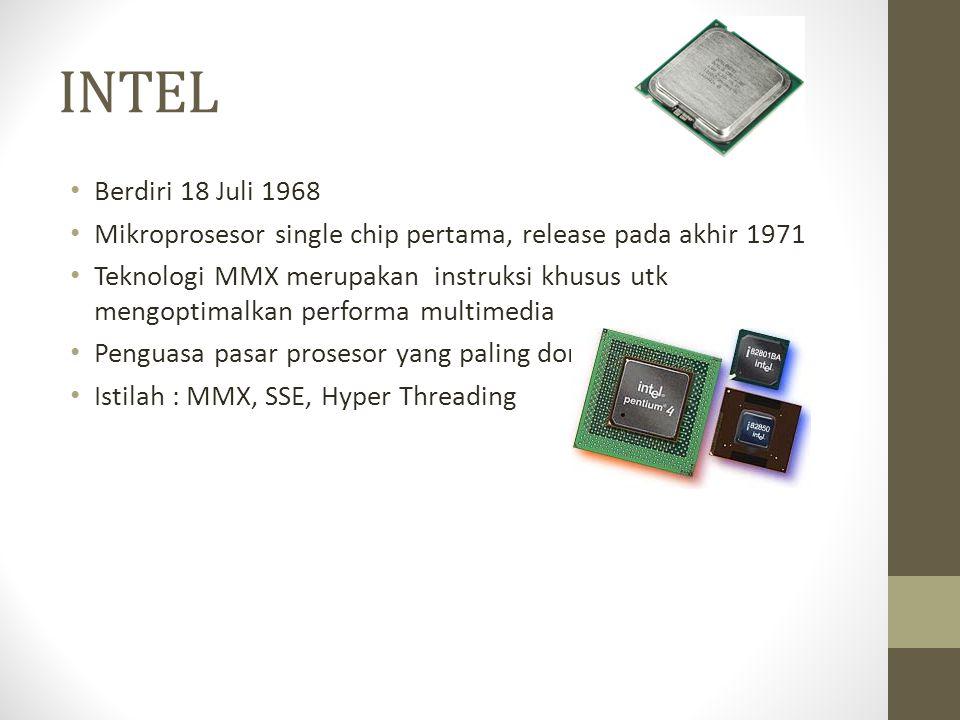 INTEL Berdiri 18 Juli 1968. Mikroprosesor single chip pertama, release pada akhir 1971.