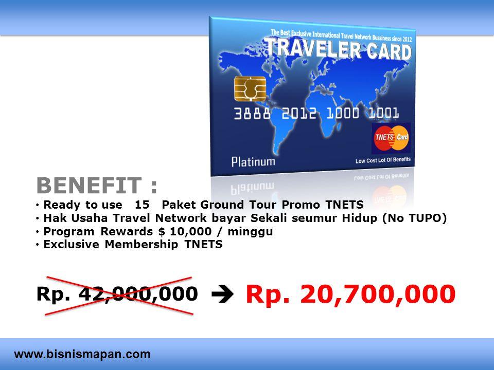 Rp. 20,700,000  BENEFIT : Rp. 42,000,000 www.bisnismapan.com