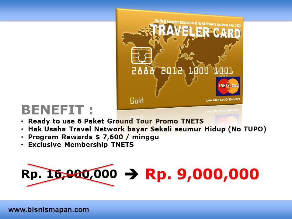 Rp. 9,000,000  BENEFIT : Rp. 16,000,000 www.bisnismapan.com