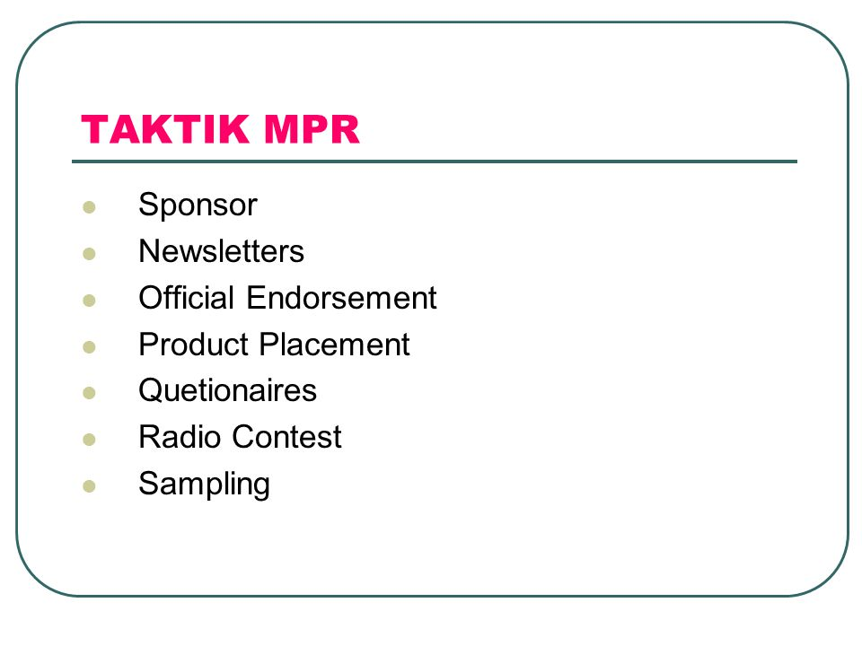 TAKTIK MPR Sponsor Newsletters Official Endorsement Product Placement