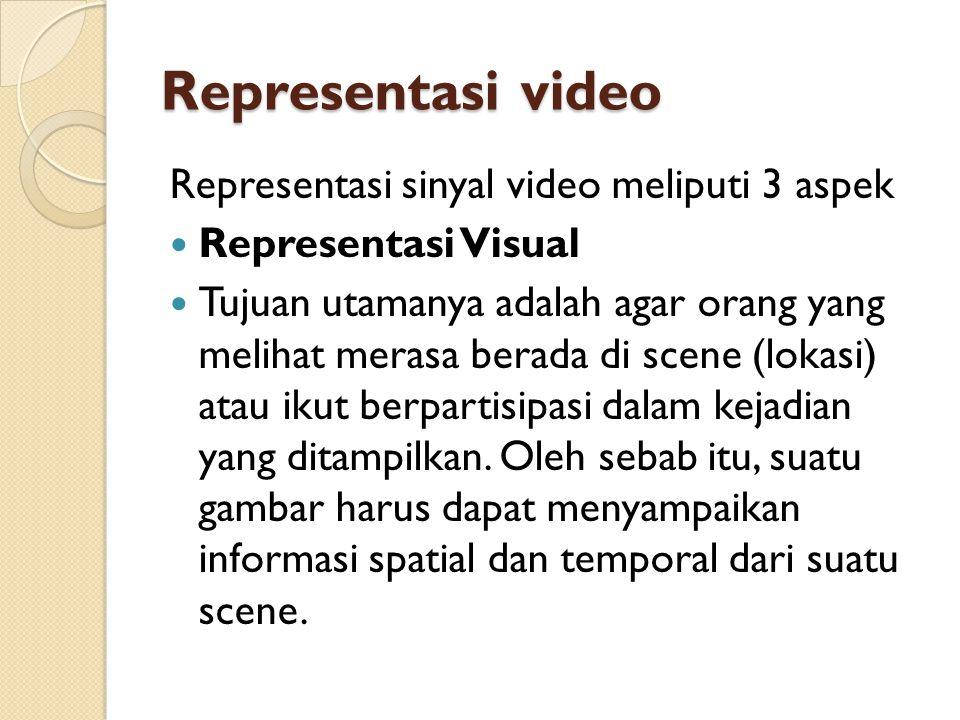 Representasi video Representasi sinyal video meliputi 3 aspek
