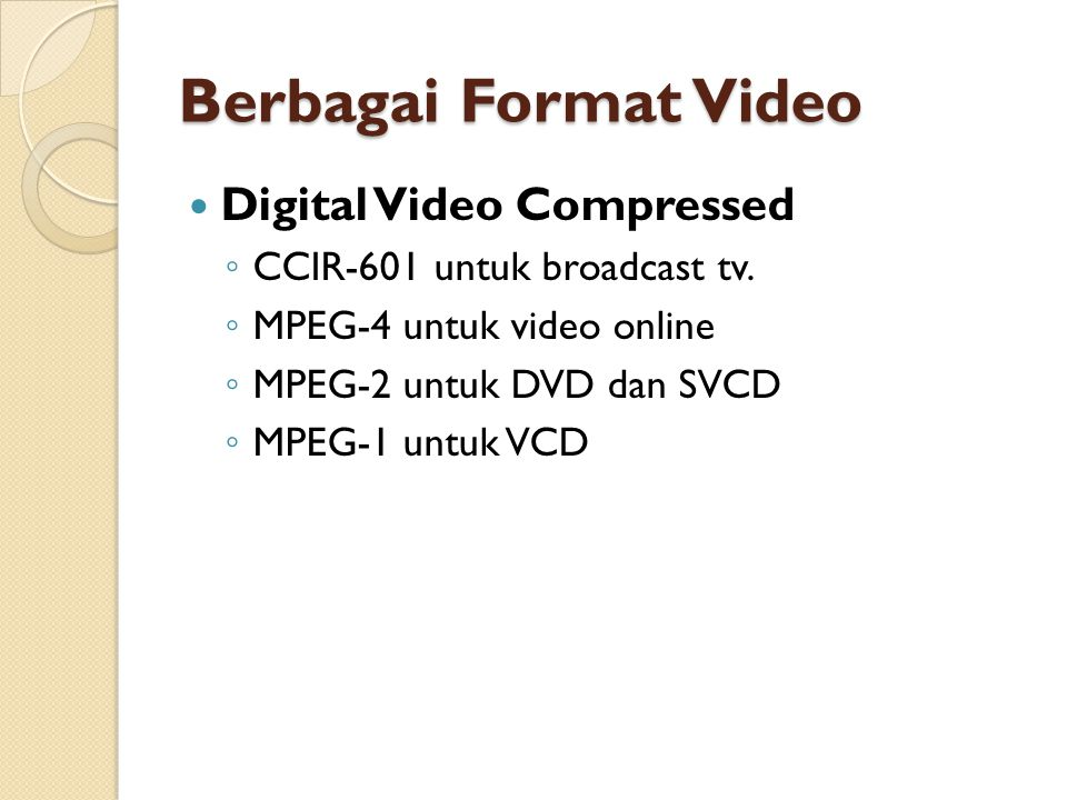 Berbagai Format Video Digital Video Compressed