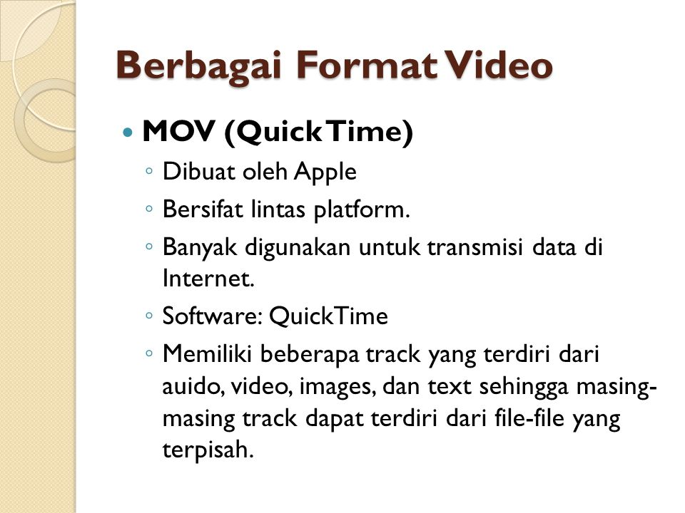Berbagai Format Video MOV (Quick Time) Dibuat oleh Apple