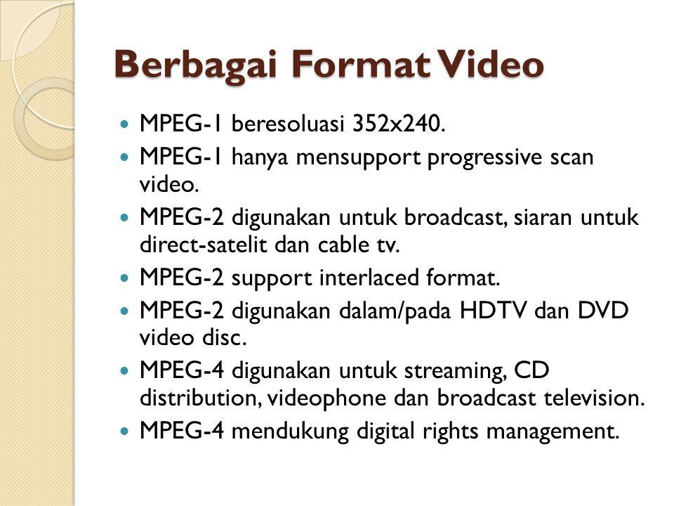 Berbagai Format Video MPEG-1 beresoluasi 352x240.