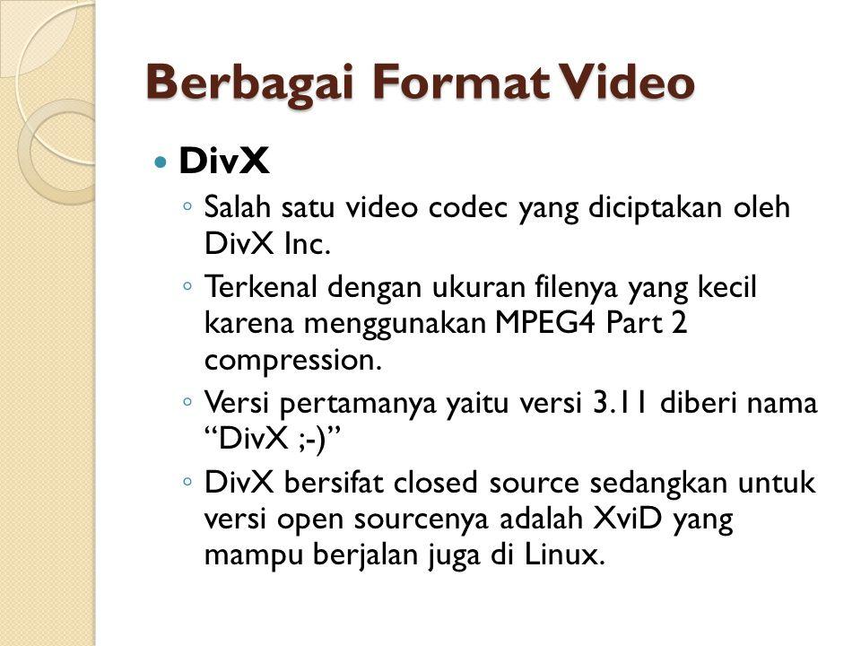 Berbagai Format Video DivX